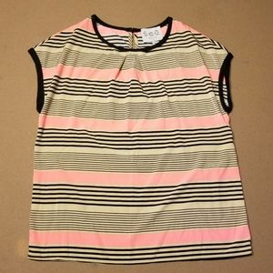Sea New York tan, pink, and black striped blouse